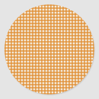 Orange and White Plaid Gingham Pattern Classic Round Sticker