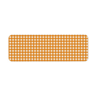 Orange and White Plaid Gingham Pattern Label