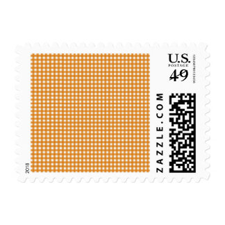 Orange and White Plaid Gingham Pattern Postage