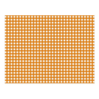 Orange and White Plaid Gingham Pattern Postcard