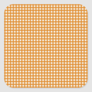 Orange and White Plaid Gingham Pattern Square Sticker