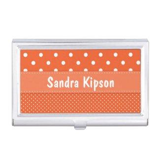 Orange and White Polka Dot Business Card Holder