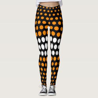 Orange and White Polka Dot Pattern Leggings