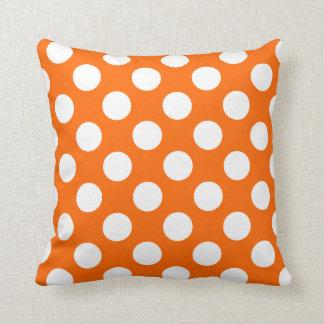 Orange and White Polka Dot Pattern Throw Pillow