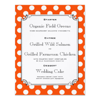 Orange and White Polka Dot Reception Dinner Menu Card