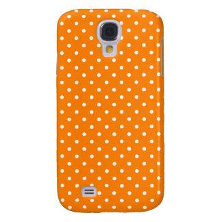 Orange and White Polka Dots Galaxy S4 Case