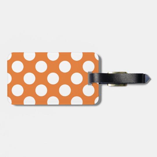 Orange and White Polka Dots Luggage Tag