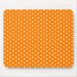 Orange and White Polka Dots Mousepads