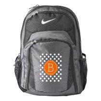 Orange And White Polka Dots Pattern Backpack