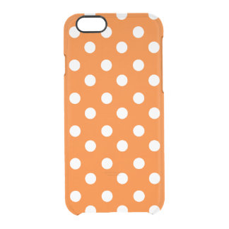 Orange and White Polka Dots Pattern Clear iPhone 6/6S Case