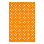 Orange and White Polka Dots Stationery Paper