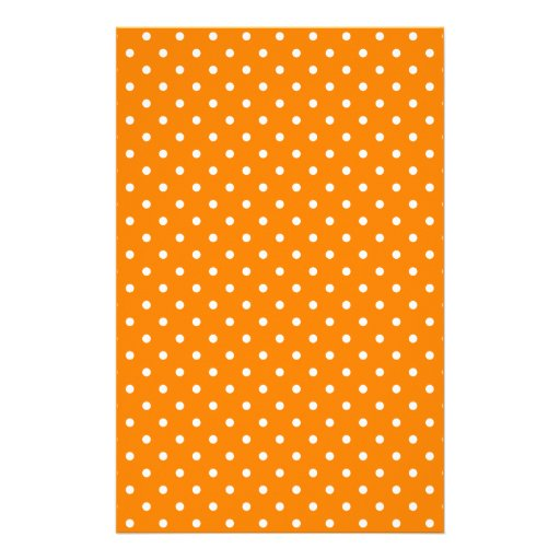Orange and White Polka Dots Stationery Paper
