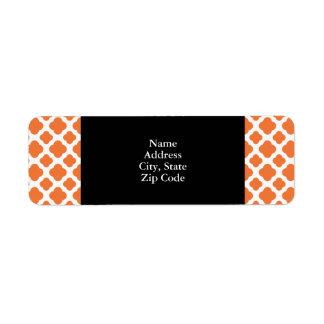 Orange and White Quatrefoil Pattern Label