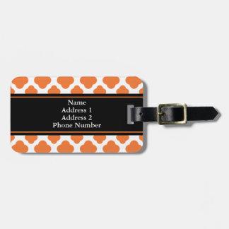 Orange and White Quatrefoil Pattern Luggage Tag