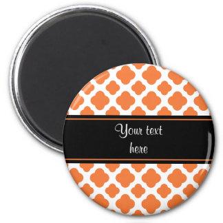 Orange and White Quatrefoil Pattern Magnet