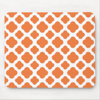Orange and White Quatrefoil Pattern Mouse Pad