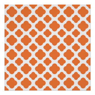 Orange and White Quatrefoil Pattern Poster