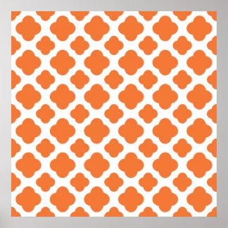 Orange and White Quatrefoil Pattern Poster