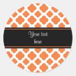 Orange and White Quatrefoil Pattern Classic Round Sticker