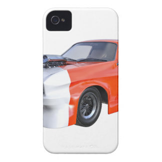 Orange and White Racing Car iPhone 4 Case-Mate Case