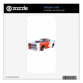 Orange and White Racing Car iPhone 4 Skin