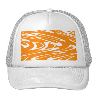 Orange and White Retro Pattern. Hats