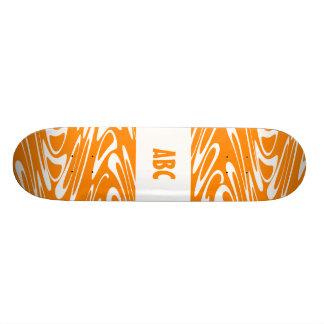 Orange and White Retro Pattern. Skate Board Decks