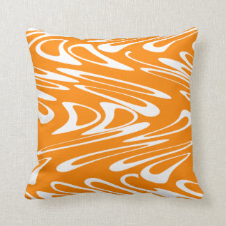 Orange and White Retro Pattern. Throw Pillow