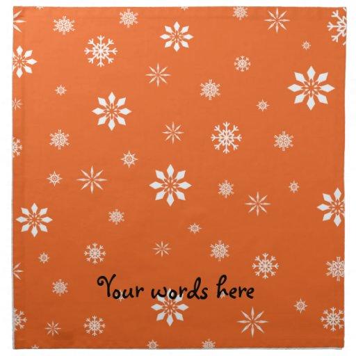 Orange and white snowflakes cloth napkin