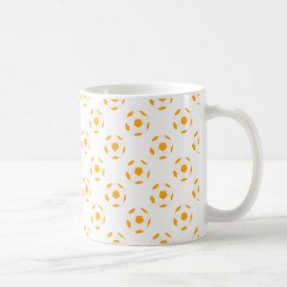 Orange and White Soccer Ball Pattern Coffee Mug