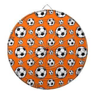 Orange and White Soccer Ball Pattern Dartboard With Darts