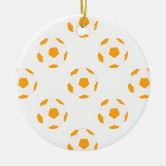 Orange and White Soccer Ball Pattern Double-Sided Ceramic Round Christmas Ornament