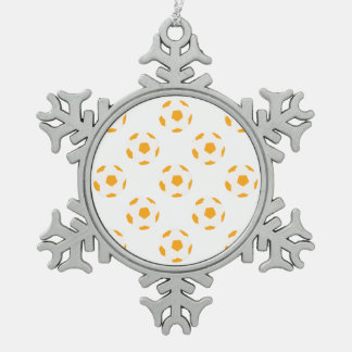 Orange and White Soccer Ball Pattern Snowflake Pewter Christmas Ornament