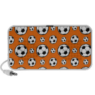 Orange and White Soccer Ball Pattern Laptop Speakers