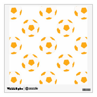 Orange and White Soccer Ball Pattern Wall Stickers