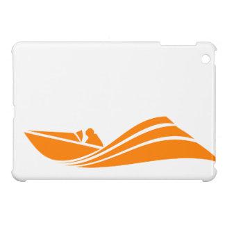 Orange and White Speed Boat iPad Mini Covers