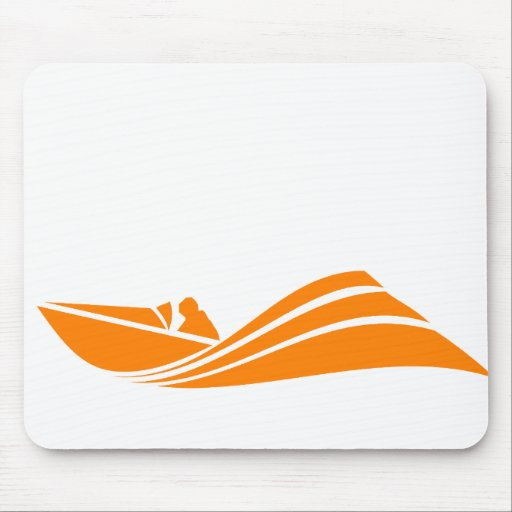 Orange and White Speed Boat Mouse Pad