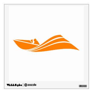 Orange and White Speed Boat Wall Sticker