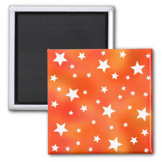 Orange and White Star Pattern 2 Inch Square Magnet