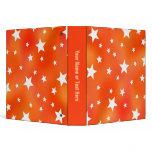 Orange and White Star Pattern 3 Ring Binder