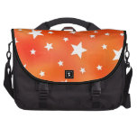 Orange and White Star Pattern Laptop Commuter Bag