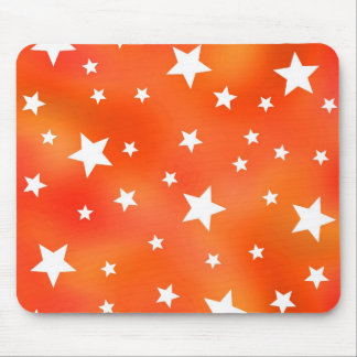 Orange and White Star Pattern Mousepads