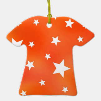Orange and White Star Pattern Ornament