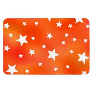 Orange and White Star Pattern Rectangular Photo Magnet