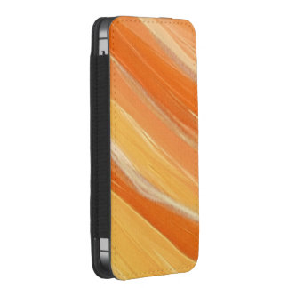 Orange and White Streaked Smartphone Pouch