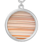 Orange and white stripe design wavy personalized necklace