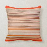 Orange and white stripe design wavy throw pillow