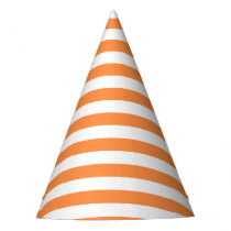 Orange and White Stripe Pattern Party Hat