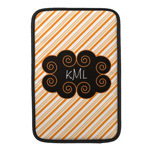Orange and White Striped Monogramming Tag Sleeves For MacBook Air