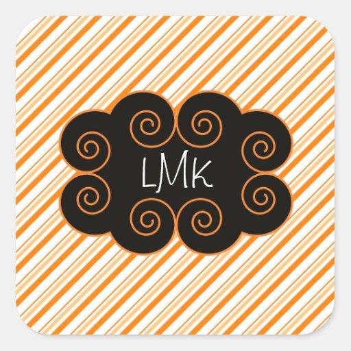 Orange and White Striped Monogramming Tag Stickers